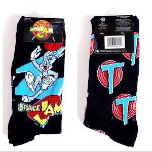 Space Jam Looney Tunes Basketball Socks 2 Pairs
